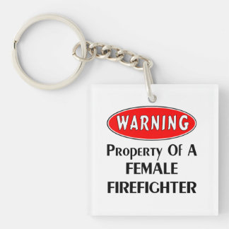 Female Firefighter Property Double-Sided Square Acrylic Keychain