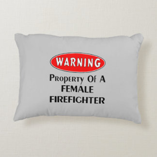 Female Firefighter Property Accent Pillow