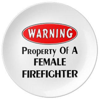Female Firefighter Property Porcelain Plate