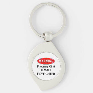 Female Firefighter Property Silver-Colored Swirl Metal Keychain