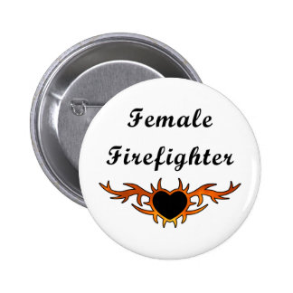 Female Firefighter Tattoo Button