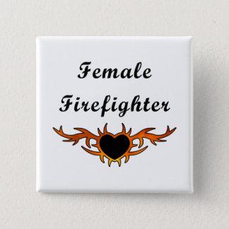 Female Firefighter Tattoo Button
