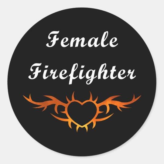 Female Firefighter Tattoo Classic Round Sticker