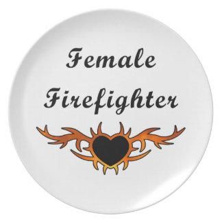 Female Firefighter Tattoo Dinner Plate