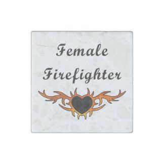 Female Firefighter Tattoo Stone Magnet