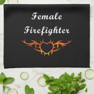 Female Firefighter Tattoo Hand Towel