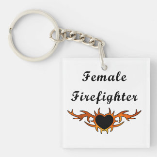 Female Firefighter Tattoo Keychain