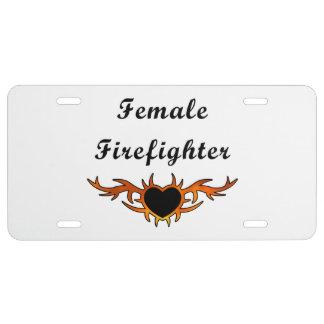 Female Firefighter Tattoo License Plate