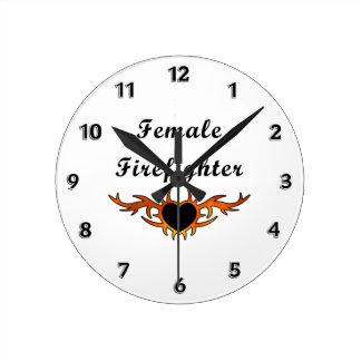 Female Firefighter Tattoo Round Clock