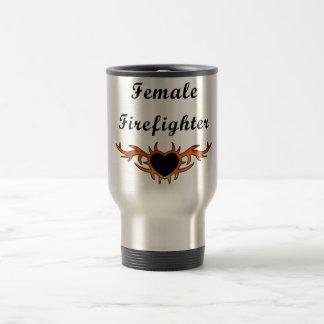 Female Firefighter Tattoo Travel Mug