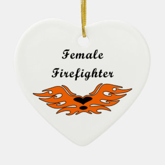 Female Firefighter Tattoos Christmas Ornament