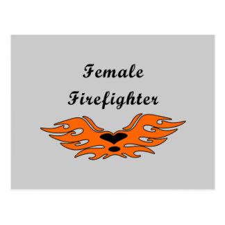 Female Firefighter Tattoos Postcard