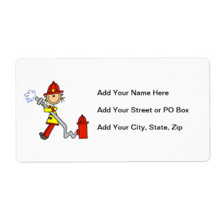 Female Firefighter With Hose T-shirts and Gifts Shipping Label