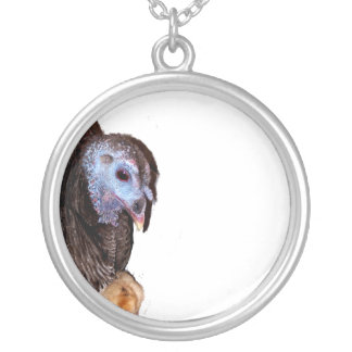 Female Florida Wild Turkey with baby chick Silver Plated Necklace