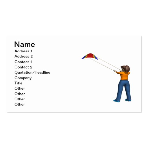 Female Flying Kite Double-Sided Standard Business Cards (Pack Of 100)