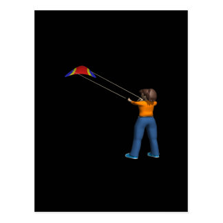 Female Flying Kite Postcard