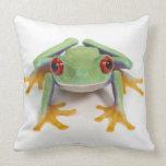 Female frog throw pillows