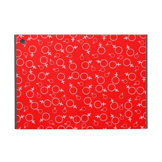 Female Gender (Venus) Symbol- Pink on Red iPad Mini Covers