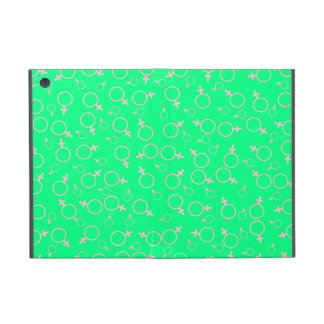 Female Gender (Venus) Symbol- Pink on Spring Green iPad Mini Covers