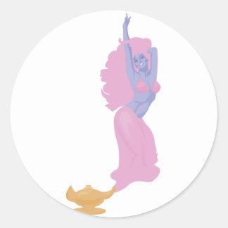 female genie in a bottle round stickers