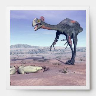 Female gigantoraptor going to its nest - 3D render Envelope