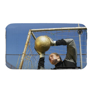 Female goalie (12-14) holding ball, low angle Case-Mate iPhone 3 cases