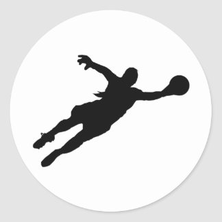 (Female) Goalie Save Classic Round Sticker