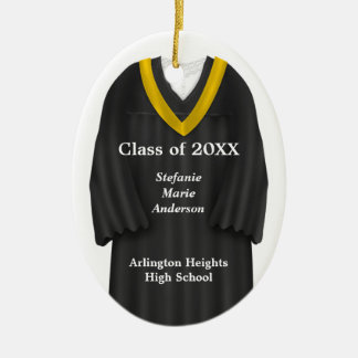 Female Grad Gown Black and Gold Ornament