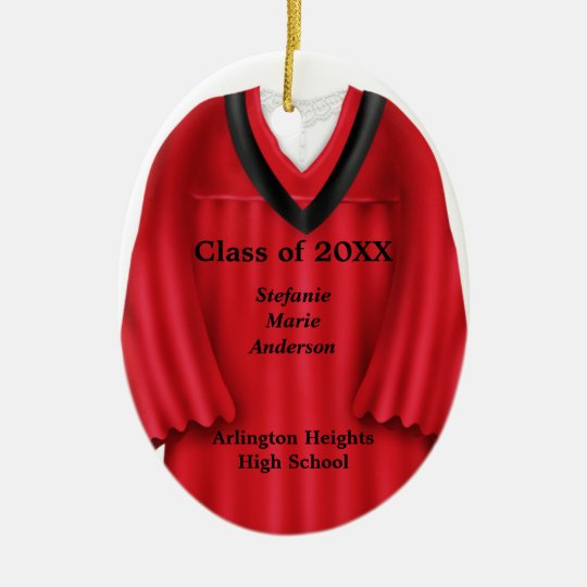 Female Grad Gown Red and Black Ornament