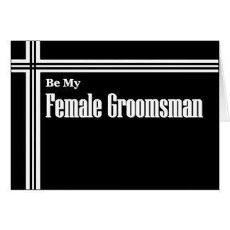 Female Groomsman  Wedding Invitation with Stripes Greeting Card