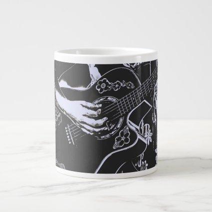 Female Guitar hand blue grey girtty.jpg 20 Oz Large Ceramic Coffee Mug