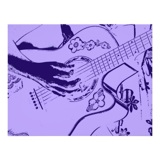 Female Guitar hand blue invert Personalized Flyer