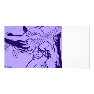 Female Guitar hand blue invert Photo Cards