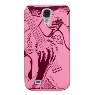 Female Guitar hand pink invert gritty Galaxy S4 Cover