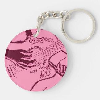 Female Guitar hand pink invert gritty Keychain