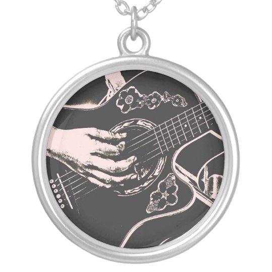 Female Guitar hand pnk grey gritty Silver Plated Necklace