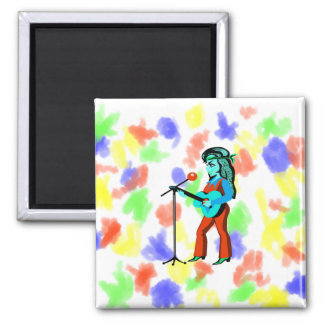 female guitar player with mic cartoon orange teal. 2 inch square magnet