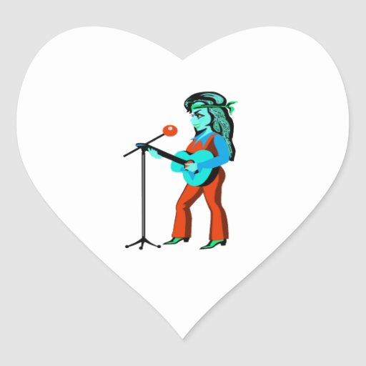 female guitar player with mic cartoon orange teal. stickers