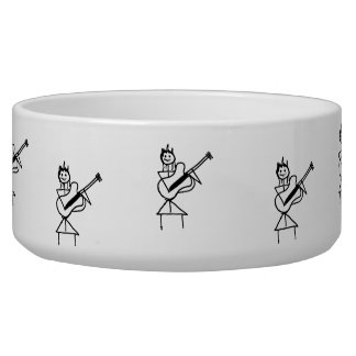 female guitar stick figure black and white pet bowl