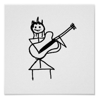 female guitar stick figure black and white posters