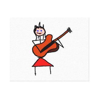 female guitar stick figure brown gtr blue eyes red canvas prints