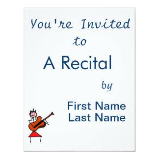 "female guitar stick figure brown gtr blue eyes red 4.25"" x 5.5"" invitation card"