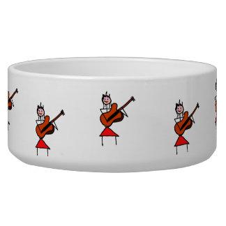 female guitar stick figure brown gtr blue eyes red dog food bowls