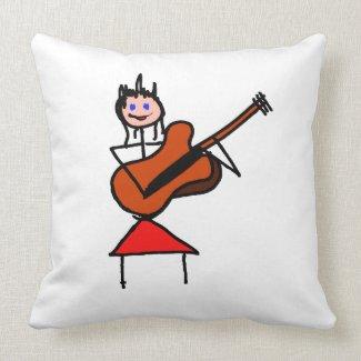 female guitar stick figure brown gtr blue eyes red pillow