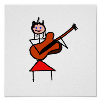 female guitar stick figure brown gtr blue eyes red print