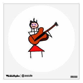 female guitar stick figure brown gtr blue eyes red room decal