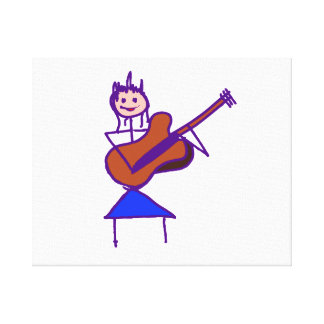 female guitar stick figure brown gtr purple gallery wrapped canvas