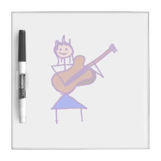 female guitar stick figure brown gtr purple Dry-Erase board