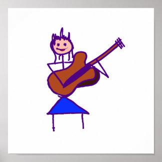 female guitar stick figure brown gtr purple print
