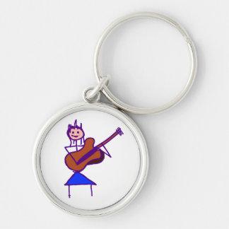 female guitar stick figure brown gtr purple Silver-Colored round keychain